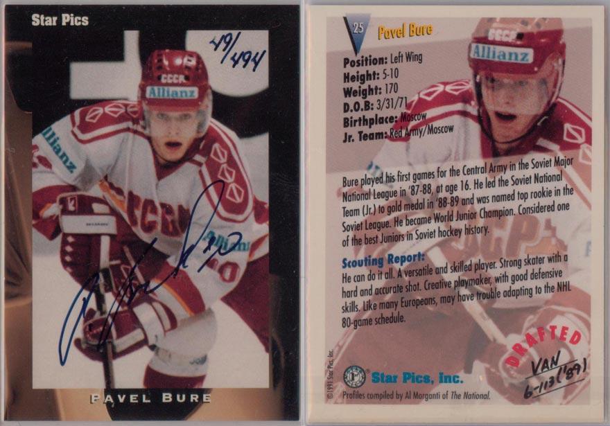 1991-92 Star Pics Autographs # 25 49/494