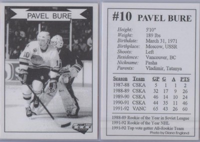 1992-93 Pavel Bure Official Fan Club # NNO