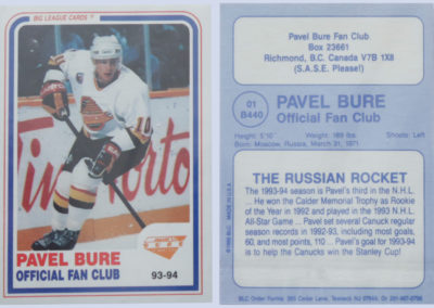 1993-94 Pavel Bure Official Fan Club # NNO
