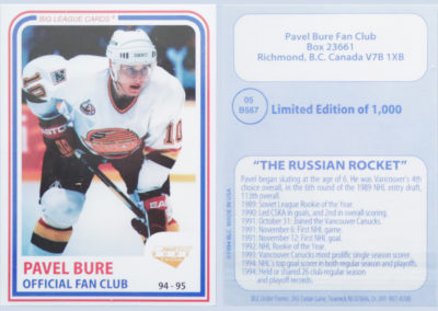 1994-95 Pavel Bure Official Fan Club # 5 /1,000