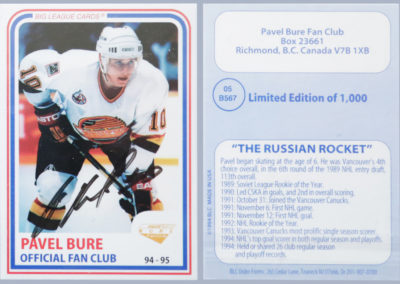 1994-95 Pavel Bure Official Fan Club w/Auto # 5 /1,000